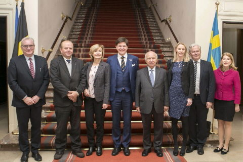 The Speaker and delegation are received at the Senate of the Belgian Federal Parliament.