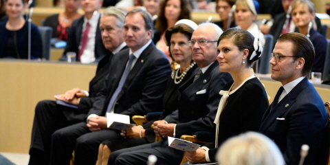 The King, the Queen, the Crown Princess, Prince Daniel, Prime Minister Stefan Löfven and Marshal of the Realm Svante Lindqvist attend the opening of the Riksdag session.