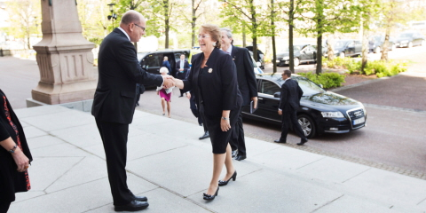 The Speaker Urban Ahlin and Chile's President Michelle Bachelet in the Riksdag