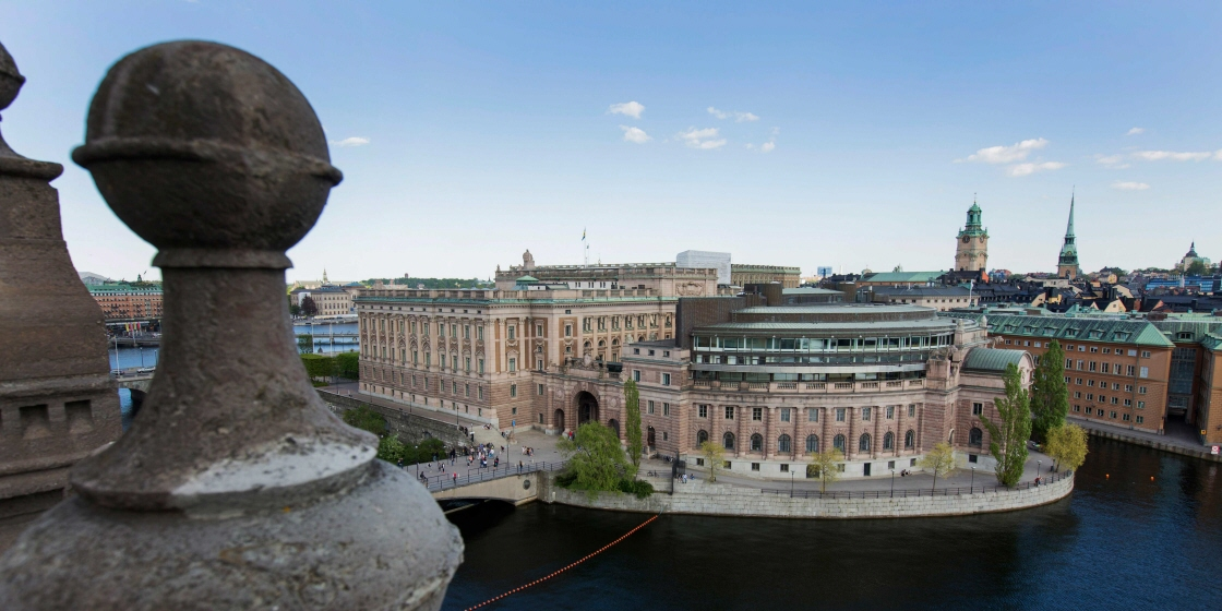 The Riksdag building from above.