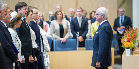 King Carl XVI Gustaf is Sweden's head of state. In the picture he stands in front of Crown Princess Victoria, that may become Sweden's head of state in the future.